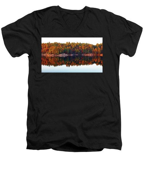 Men's V-Neck T-Shirt featuring the photograph   Autumn Reflections by Debbie Oppermann