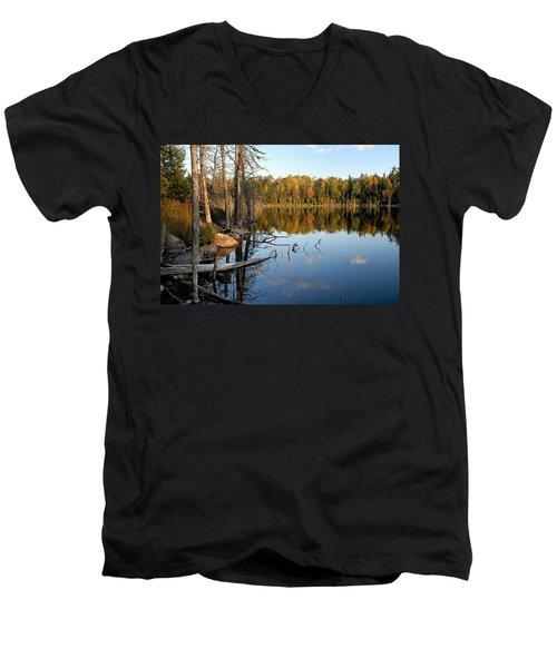 Autumn Reflections On Little Bass Lake Men's V-Neck T-Shirt by Larry Ricker