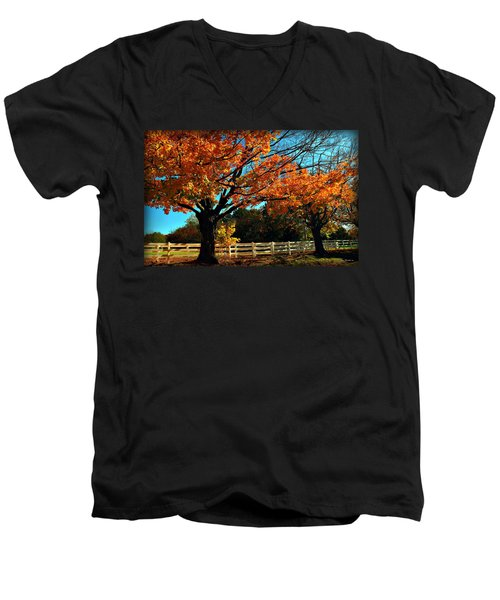 Men's V-Neck T-Shirt featuring the photograph Autumn Rows by Joan  Minchak