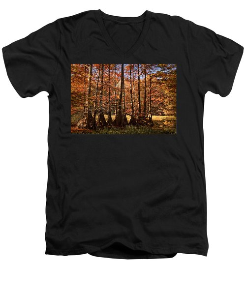 Men's V-Neck T-Shirt featuring the photograph Autumn Splendor At Lake Murray by Tamyra Ayles