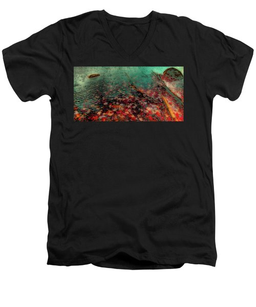 Men's V-Neck T-Shirt featuring the photograph Autumn Submerged by David Patterson