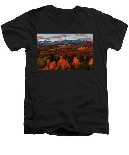 Autumn Sunrise At Dallas Divide In Colorado Men's V-Neck T-Shirt by Jetson Nguyen