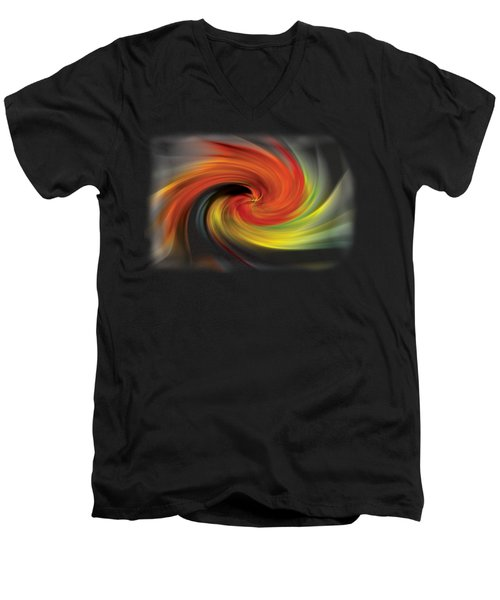 Men's V-Neck T-Shirt featuring the photograph Autumn Swirl by Debra and Dave Vanderlaan