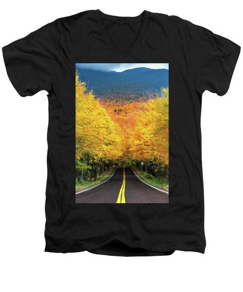 Autumn Tree Tunnel Men's V-Neck T-Shirt