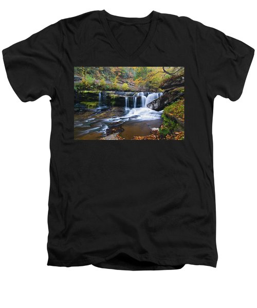 Men's V-Neck T-Shirt featuring the photograph Autumn Waterfall by Steve Stuller