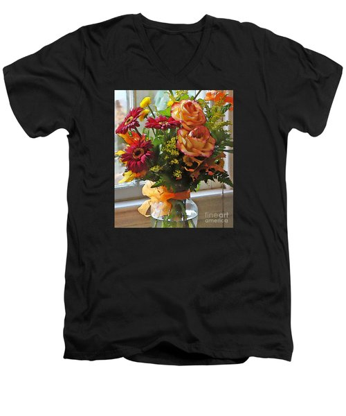 Autumn Window Men's V-Neck T-Shirt by Betsy Zimmerli