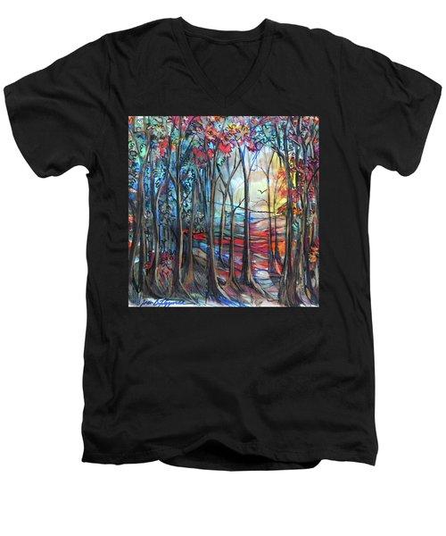Autumn Woods Sunrise Men's V-Neck T-Shirt