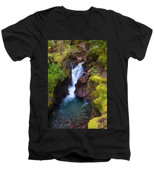 Men's V-Neck T-Shirt featuring the photograph Avalanche Gorge 4 by Gary Lengyel
