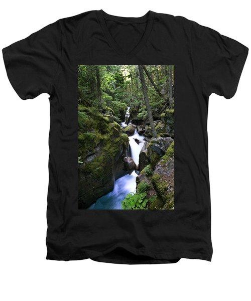 Avalanche Gorge Glacier National Park Men's V-Neck T-Shirt