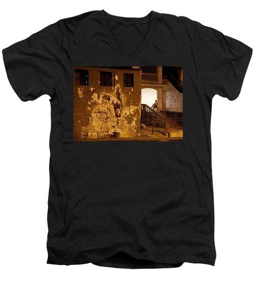 Men's V-Neck T-Shirt featuring the photograph Avenue De Los Presidentes Havana Cuba by Charles Harden