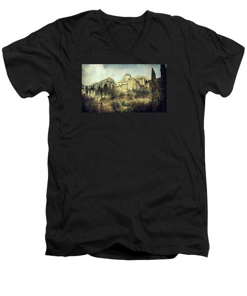 Avio Castle Men's V-Neck T-Shirt by Vittorio Chiampan