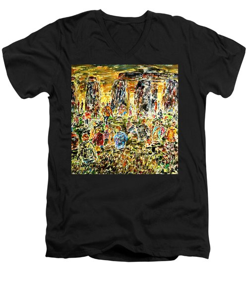 Men's V-Neck T-Shirt featuring the painting Awaiting The Sun by Alfred Motzer