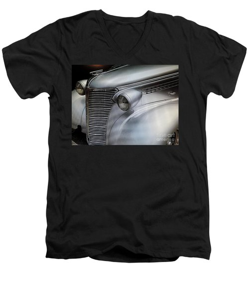 Men's V-Neck T-Shirt featuring the painting Awesome Silver Grill by Tom Riggs