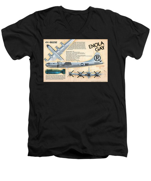 B-29 Enola Gay  Men's V-Neck T-Shirt by David Collins