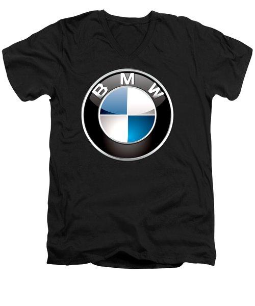 B M W  3 D Badge On Black Men's V-Neck T-Shirt by Serge Averbukh