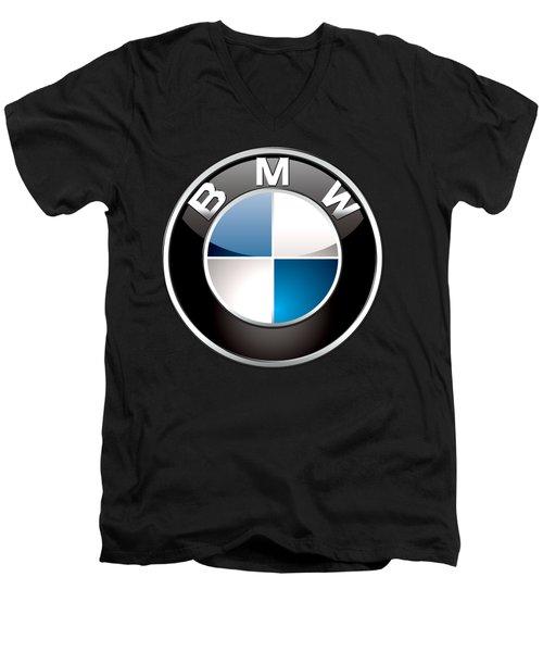 B M W  3 D Badge On Black Men's V-Neck T-Shirt