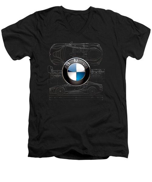 B M W  3 D  Badge Over B M W I8 Silver Blueprint On Black Special Edition Men's V-Neck T-Shirt