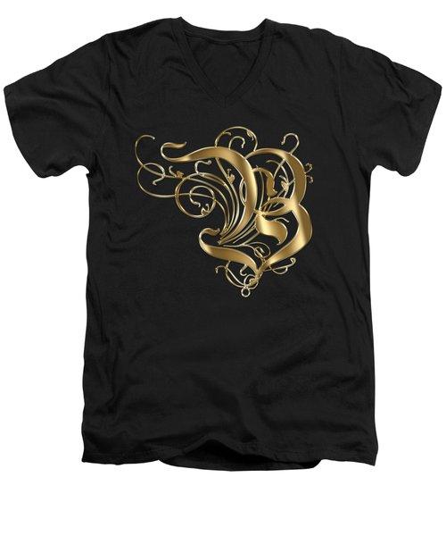 B Ornamental Letter Gold Typography Men's V-Neck T-Shirt