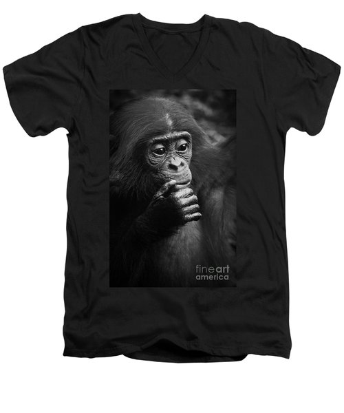 Men's V-Neck T-Shirt featuring the photograph Baby Bonobo by Helga Koehrer-Wagner