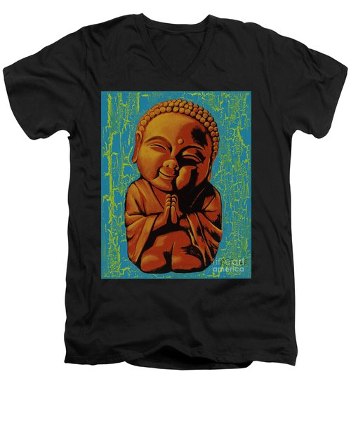 Men's V-Neck T-Shirt featuring the painting Baby Buddha by Ashley Price