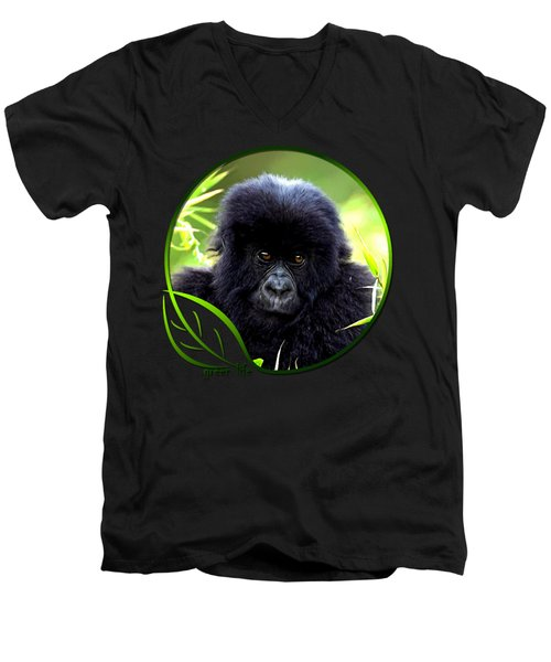 Baby Gorilla Men's V-Neck T-Shirt by Dan Pagisun