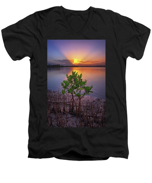 Baby Mangrove Sunset At Indian River State Park Men's V-Neck T-Shirt by Justin Kelefas