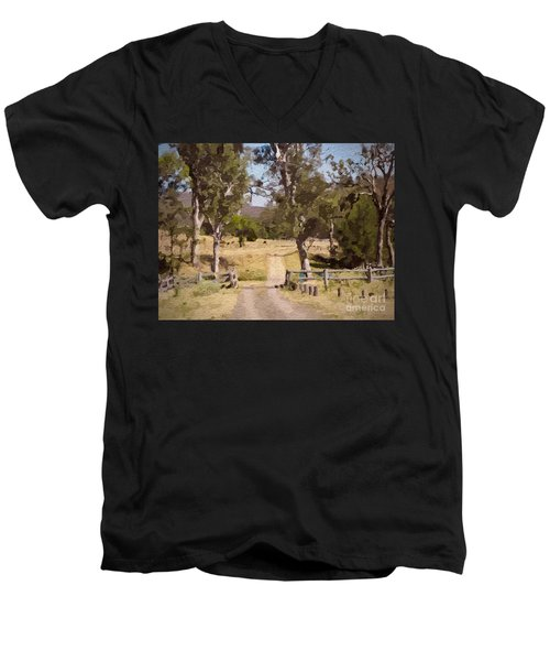 Back Country Farm Track Men's V-Neck T-Shirt