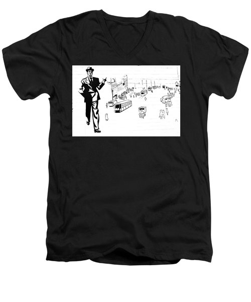 Men's V-Neck T-Shirt featuring the photograph Back In Early Twenties. by Yurix Sardinelly