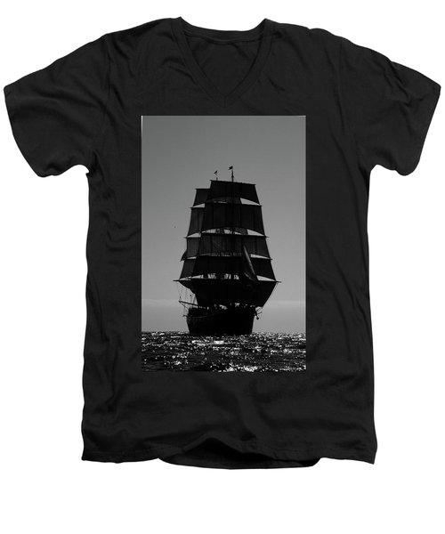 Back Lit Tall Ship Men's V-Neck T-Shirt