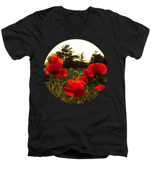 Backlit Red Poppies Men's V-Neck T-Shirt