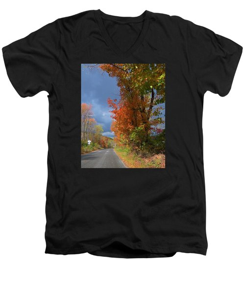 Backroad Country In Pennsylvania Men's V-Neck T-Shirt by Jeanette Oberholtzer