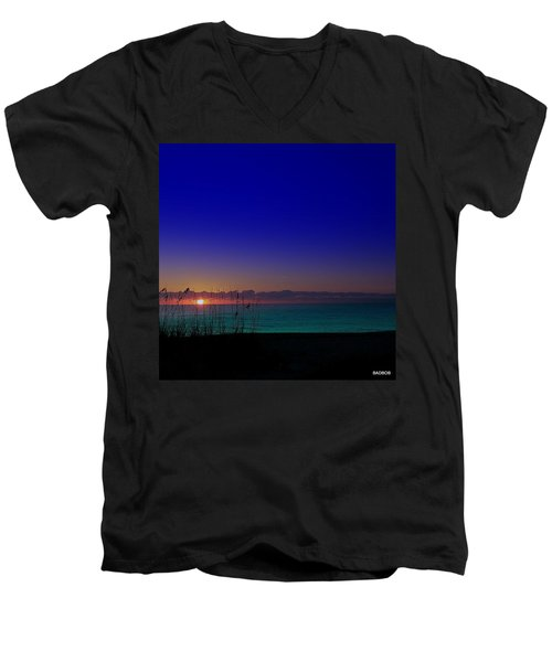 Badblue Sunrise  Men's V-Neck T-Shirt