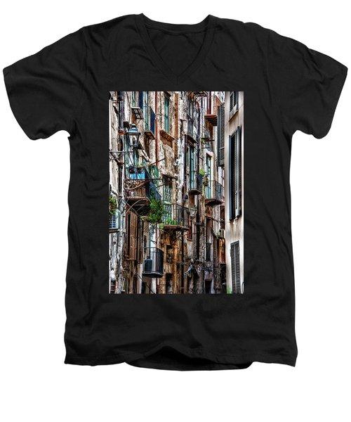 Balconies Of Palermo Men's V-Neck T-Shirt by Patrick Boening