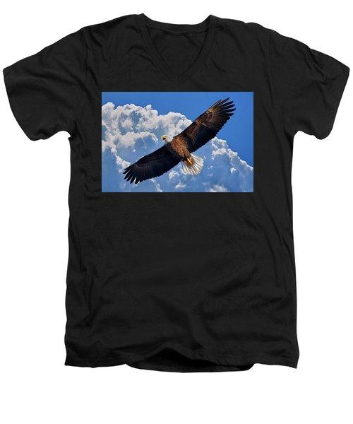 Bald Eagle In Flight Calling Out Men's V-Neck T-Shirt by Justin Kelefas