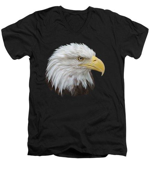 Men's V-Neck T-Shirt featuring the photograph Bald Eagle Profile by Ernie Echols