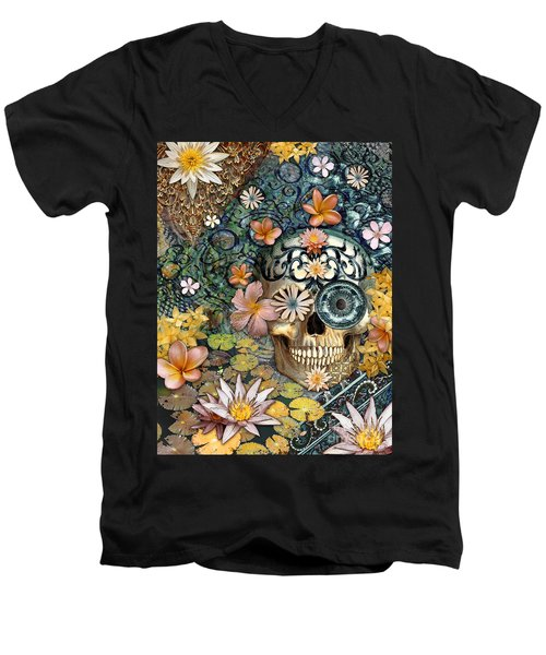 Bali Botaniskull - Floral Sugar Skull Art Men's V-Neck T-Shirt