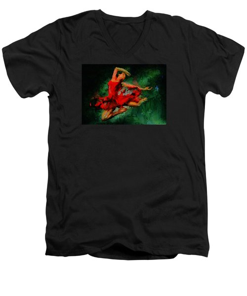 Ballerina Girl -  Love Is Seduction  Men's V-Neck T-Shirt by Sir Josef - Social Critic -  Maha Art