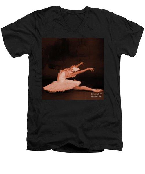 Ballet Dancer In White 01 Men's V-Neck T-Shirt by Gull G