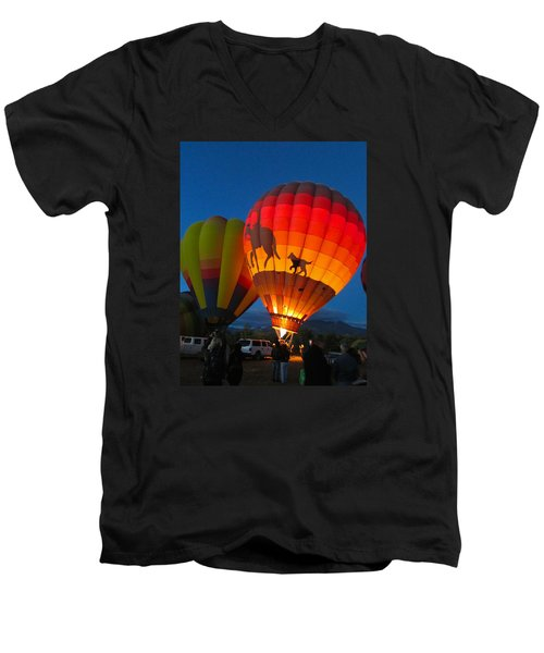 Men's V-Neck T-Shirt featuring the photograph Balloon Glow by Brenda Pressnall