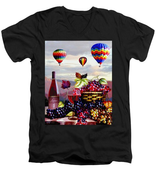 Balloon Ride At Dawn Men's V-Neck T-Shirt by Ron Chambers