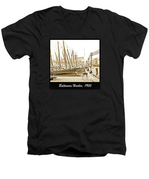 Men's V-Neck T-Shirt featuring the photograph Baltimore Harbor 1900 Vintage Photograph by A Gurmankin