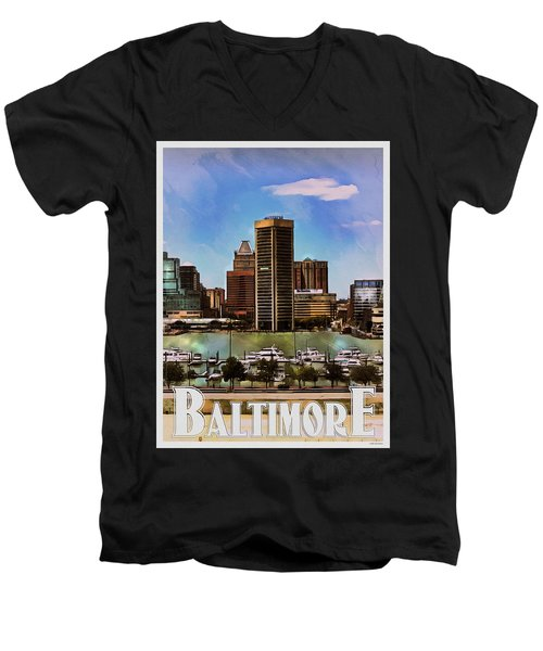 Baltimore Skyline Men's V-Neck T-Shirt by Kai Saarto