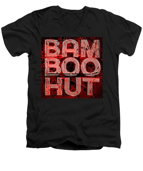 Men's V-Neck T-Shirt featuring the photograph Bamboo Hut by Bud Simpson