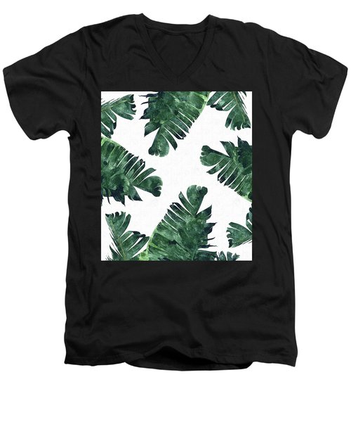 Banan Leaf Watercolor Men's V-Neck T-Shirt by Uma Gokhale