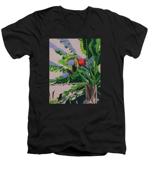 Bananas Men's V-Neck T-Shirt by Hilda and Jose Garrancho
