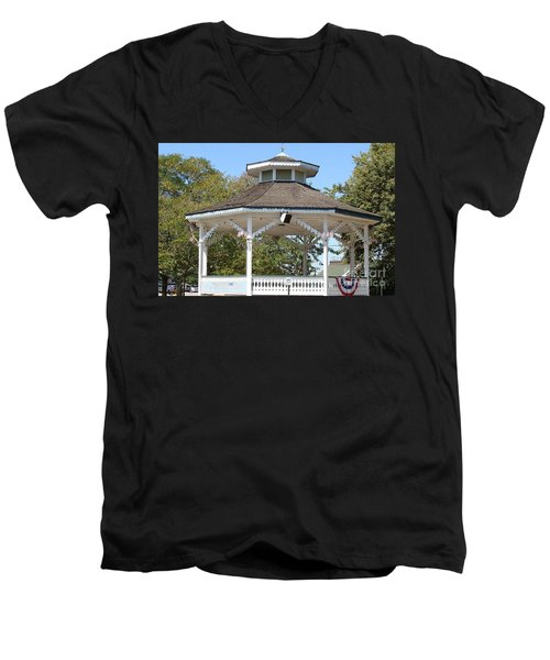 Men's V-Neck T-Shirt featuring the painting Bandshell In Plymouth, Mass by Rod Jellison
