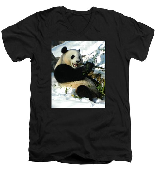Bao Bao Sittin' In The Snow Taking A Bite Out Of Bamboo2 Men's V-Neck T-Shirt