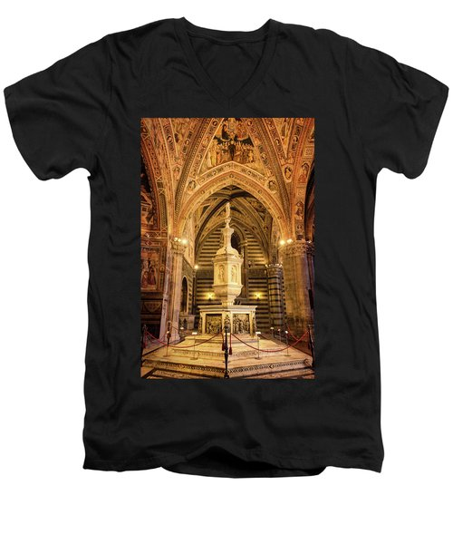 Men's V-Neck T-Shirt featuring the photograph Baptistery Siena Italy by Joan Carroll