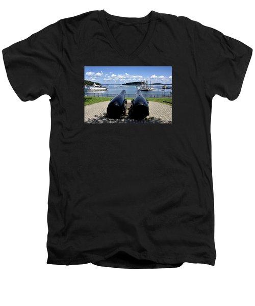 Bar Harbor - Maine - Canons At Agamont Park Men's V-Neck T-Shirt by Brendan Reals