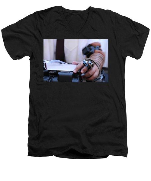 Bar Mitzvah Celebration With Tefillin  Men's V-Neck T-Shirt by Yoel Koskas